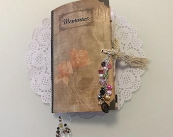 "Handmade Vintage Junk Journal, ""Memories"", Scrapbook, Mini Album, Travellers Notebook, Unique Keepsake, Gift With Beaded Charm Dangle"