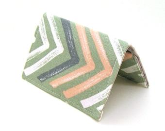 Mini Wallet / Card Holder / Business Card Holder / Card Case / Gift Card Holder/ Small Wallet - Sage & Blush Painted V Chevron