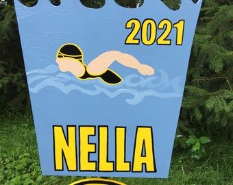 Personalized diving or swimming yard sign with wood stake.