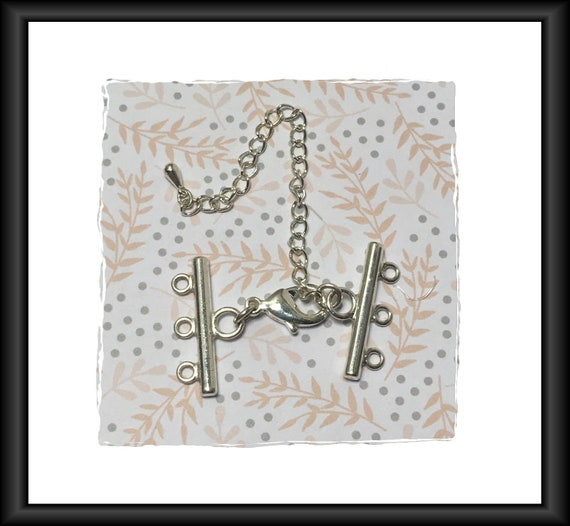 Silver Multi-Strand 25 mm Lobster Claw Clasp with 3-Inch Extension Chain