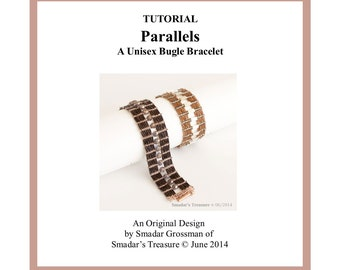 Beading Tutorial, Parallels Unisex Bracelet. Beading Pattern with Bugle Beads. Beadweaving Beadwork Instructions. PDF File Instant Download