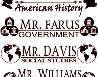 Social Studies Teacher Subject Stickers