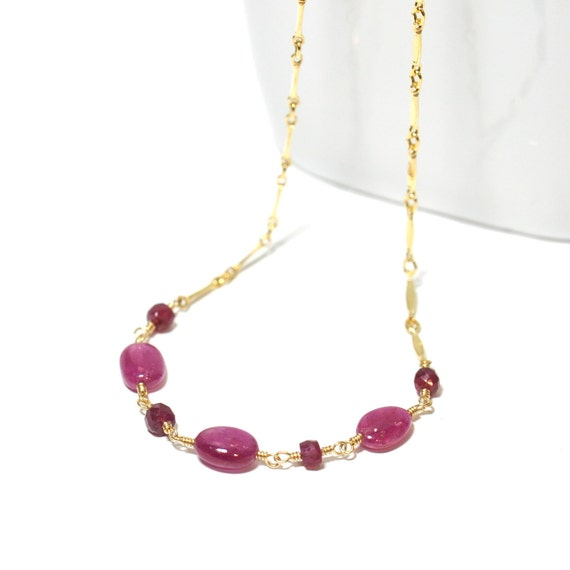 Ruby Necklace in Gold or Silver, Mothers Day Gift, Ruby Gold Necklace, July Birthstone Necklace