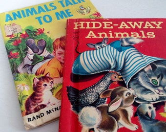 2 Rand McNally Elf Books - Animals Talk To Me and Hide-Away Animals