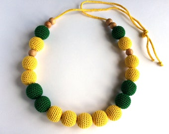 Teething necklace, Mammy and baby teething crochet necklace, Sling accessory, Necklace, Baby toy, Gift, Natural toy
