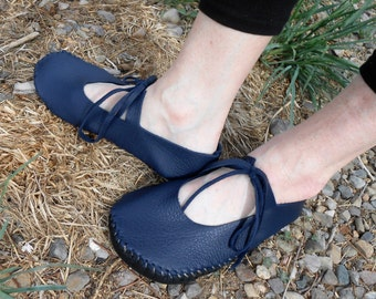 Leather Shoes, Handmade Hand Sewn Sandals, Mary Jane Style Soft Sole Shoes, Spring Summer Footwear, Custom Made to Order, Dark Blue