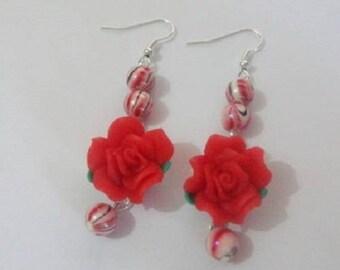 Red polymer clay Flower Earrings