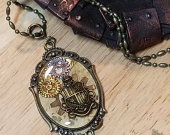 Steampunk Coat of Arms Necklace