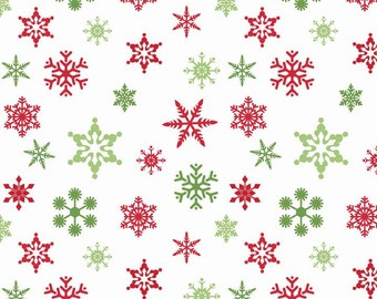 Holiday Snowflakes White by Riley Blake Designs - Holiday Banners Christmas - Cotton Woven Quilt Fabric - choose your cut