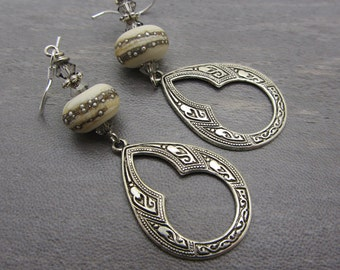 Lampwork Earrings Ivory Banded Etched Earrings Glass Bead Earrings Dangle Drop Earrings Teardrop Charm Handmade Earrings SRAJD