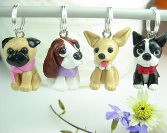 Dog Stitch Markers (Set of 4) Basset hound, pug, chihuahua, boston terrier charms pendant knitting knitter knit dog lover gifts