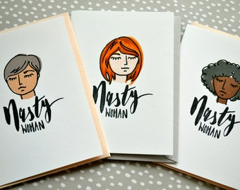 Nasty Women Greeting Card Set - Six Hand Drawn Feminist Cards