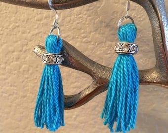 Teal blue tassel earrings