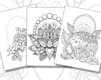 Tattoo Pack - Adult Coloring Pages - Sugar Skull - Lotus - Crystals - Instant Download PDF - Print your own coloring book