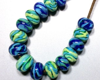15 Encased Blue & Green Spacers - Handmade Lampwork Glass Beads - SRA - USA