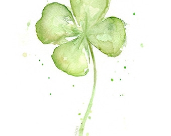 Four Leaf Clover Art Print of Watercolor Painting, Plants, St Patrick's, Lucky Charm, Clover Painting, Abstract Clover, Clover illustration