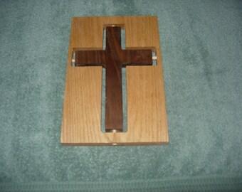 Wooden Cross of Walnut and Oak 11 x 7.5 100% wood