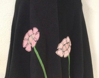 T-Skirt (Kids) | upcycled, recycled black t-shirt skirt with flowers appliqué