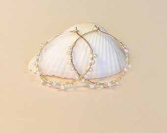 Gold Pearl Hoop Earrings, White Pearl Earrings, Beaded Hoop Earring, Medium, Silver, Gold or Rose Gold Filled, Pearl Hoops