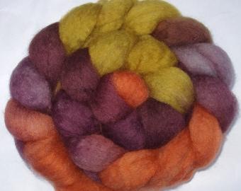 Superwash wool roving, BFL, spinning fiber, hand painted roving, hand dyed roving, british wool, purple,orange,autumn,3.5oz, 100g, 100% wool