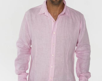 Pink Linen Shirt - Slim Fit by Claudio Milano- Style 1030