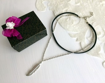 Black Choker Silver Necklace, Chain Silver Jewelry, Feather Necklace, Boho Women Gift, Dainty Necklace, Statement Choker, Birthday Gift