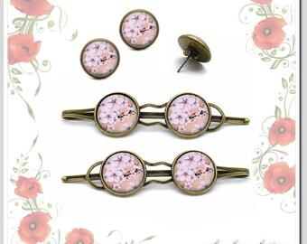 Hair clips + Studs cherry blossom jewelryset sho-C16-001