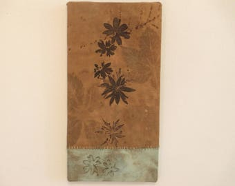 """Cranesbill Ecoprint Wall Hanging - Ready-To-Hang Wall Decor - Wisconsin Local Color - CF6x121703 - 6""""x12"""" (15x30cm) - Free Shipping"""
