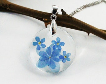 Forget me not necklace, Hydrangea Flowers necklace, Resin necklace, Blue flower necklace, Real flower, Pressed Flower, Botanical Jewelry