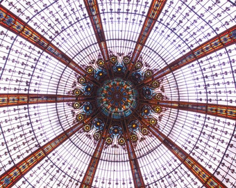 Paris Photography - Stained Glass Ceiling at Galeries Lafayette, Architectural Wall Decor, Fine Art Photograph, French Art