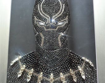 Black Panther hand encrusted with over 3,200 Swarovski and Preciosa crystals and embellishments