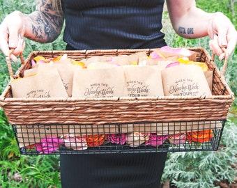 Wedding Petal Toss Bag, Kraft Paper Favor Bags - Toss and Shout Hooray!  20 Flower Petal Toss Kraft Bags