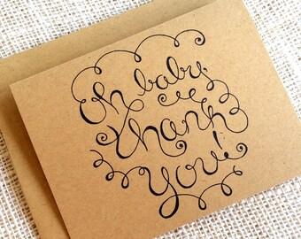 Baby Shower Thank You Card Set of 10 - Gender Neutral Baby Shower Thank You Notes - Simple Hand Lettered Design - Rustic Kraft Brown Cards