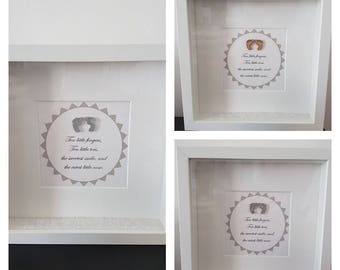 Cute silver/grey feet frame with saying