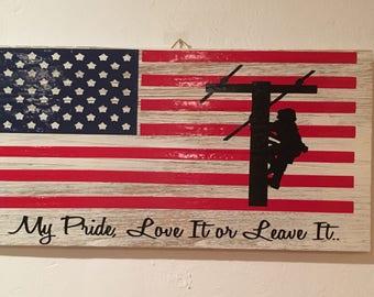 American Lineman wall decor