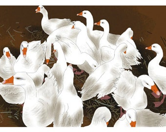 Nature Greeting Card, Blank, Geese Design No A6040