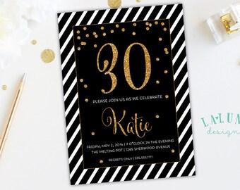 30th Birthday Invitation, 40th Birthday Invitation, 21st Birthday, Printable Birthday Invite, Black and White Stripe, Confetti Glitter
