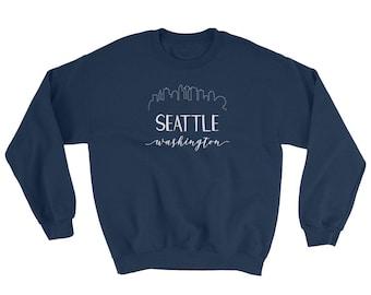 Downtown Seattle Washington Sweatshirt - Downtown Skyline Space Needle Calligraphy Skyline Shirt - Pacific Northwest Bellevue Everett Tacoma