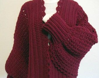 PDF Crochet Pattern -Cozy Cuffed Cape
