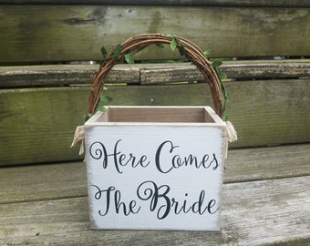 Here Comes the Bride Rustic Country Whitewashed Flower Girl Basket with Grapevine Handle and Burlap Flowers