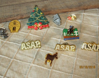 Assortment Lot of 10 Hat Pins Brooches Pins -  Christmas-Pewter Angel - Lighthouse - Donkey / Mule - More