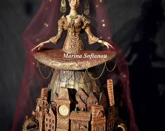 Art doll ooak with miniature houses exclusive interior doll sculpture lady night collectible doll old city statue exclusive decor