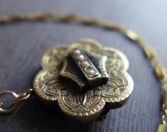Damascène collier, pendentif en or noir perle 14K chaîne en plaqué or