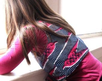 Child's African Wax Print Vest -Size 7/8 - Reversible Cotton
