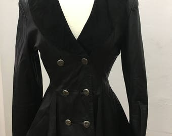 1980's black leather waist shaped jacket with suede collar