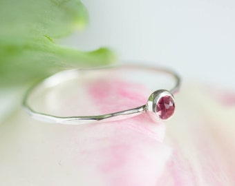Pink Tourmaline ring - skinny stackable ring with rose cut pink tourmaline stone, October birthstone, sterling silver, 9k gold