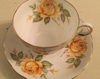 Vintage Melba bone china yellow rose cup and saucer