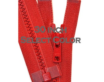 30 inch Vislon Jacket Zipper YKK  Plastic Medium Weight -  Select Color~ Vislon 5mm Molded Plastic Chunky Teeth SEPARATING Sports Zipper