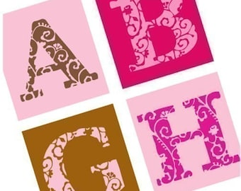 Sophisticated Pink and Brown Alphabet - Scrabble Size Printable Images - Buy 2 Get 1 Free - Instant Download - .75x.83 Inch - Digital File