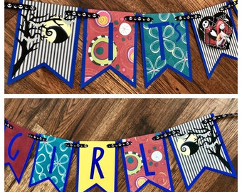 Nightmare Before Christmas Baby Shower Banner, NBC Banner, It's a Girl Banner, Jack and Sally, Baby Shower Banner, It's a Girl Shower Banner